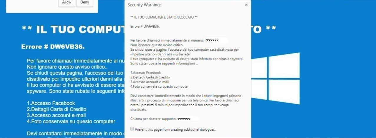 attenzione alla nuova truffa security warning il tuo