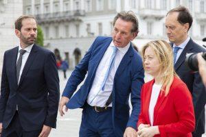 Giorgia Meloni a Trieste con Claudio Giacomelli, Fabio Scoccimarro e Luca Ciriani